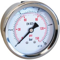 "Manomètre à bain de glycérine axial 0-6 bars - 1/4"" GAS - Ø63"