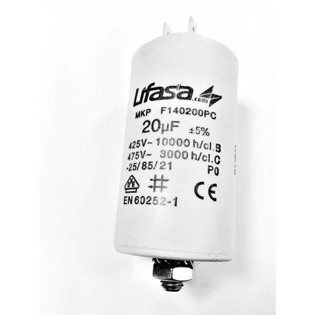 Condensateur permanent 20µF 450V avec cosses