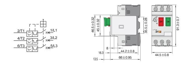 Disjoncteur magnéto-thermique tripolaire pour moteur asynchrone