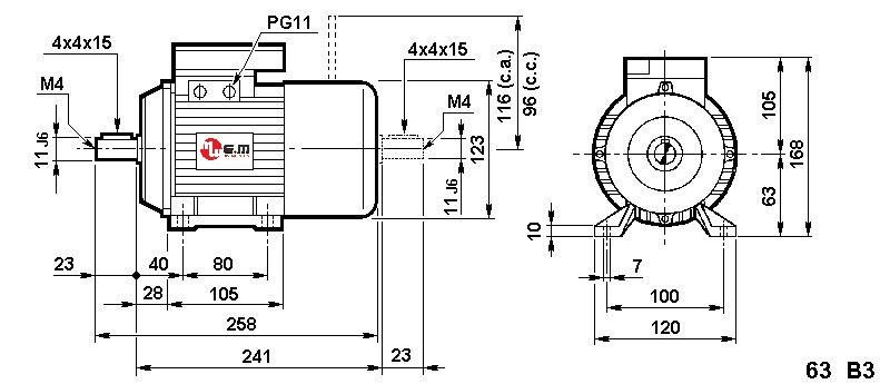 Dimensions moteur monophasé avec frein HA63