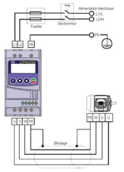 schéma de connexion variateur mono tri CFW100