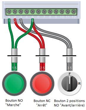 schéma branchement bouton poussoir variateur mono-tri
