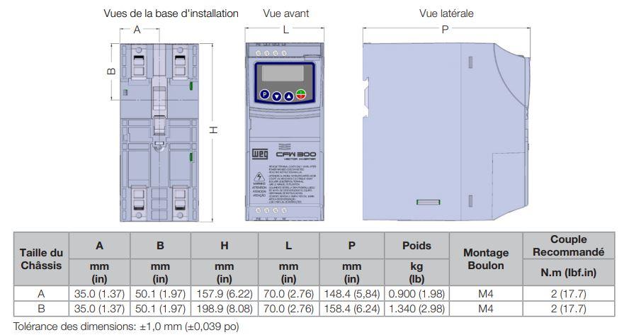 Dimensions variateur monotri cfw300 weg