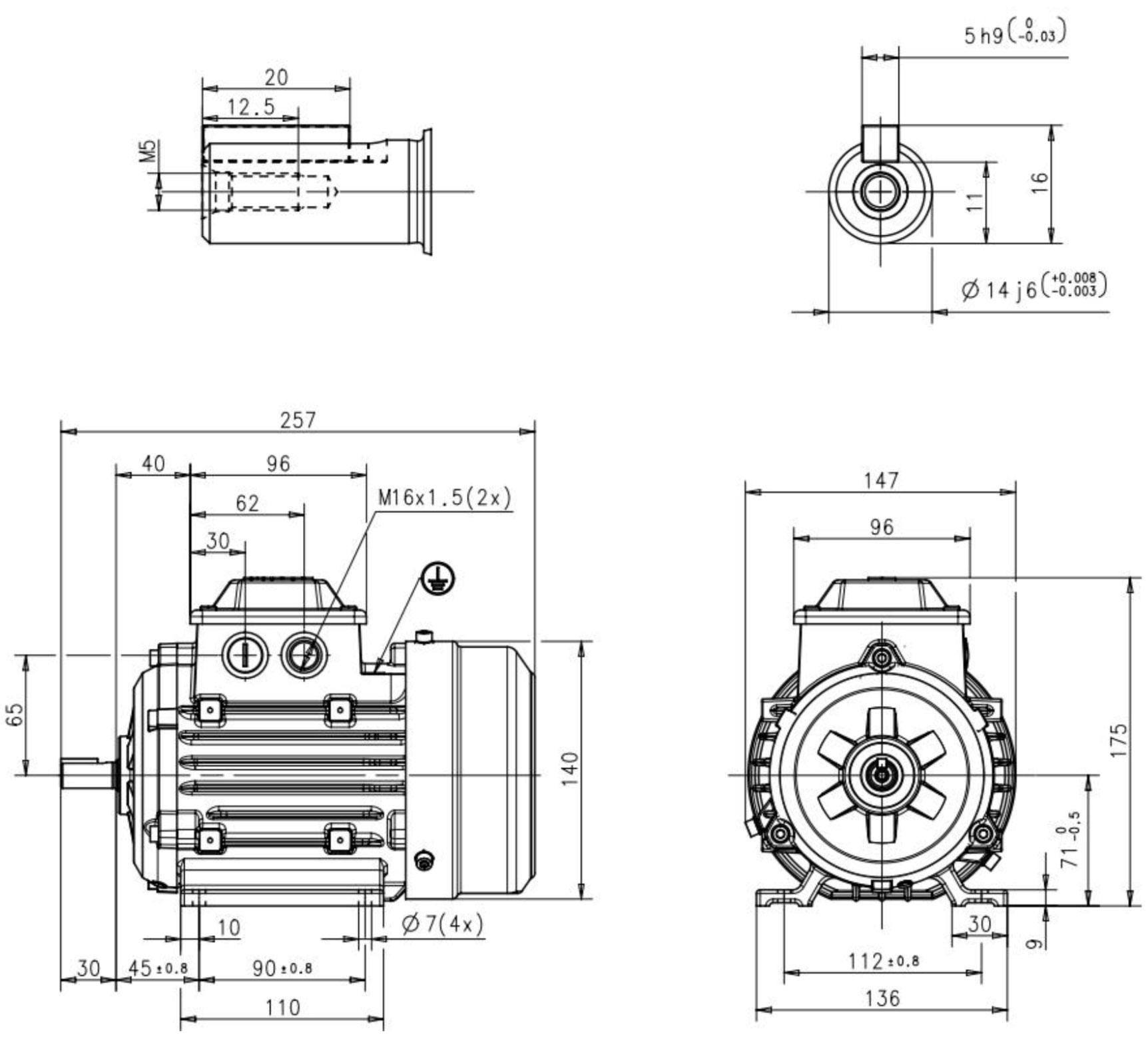 moteur triphas u00e9 0 25 kw  1500 tr  min  b3  230  400v - abb