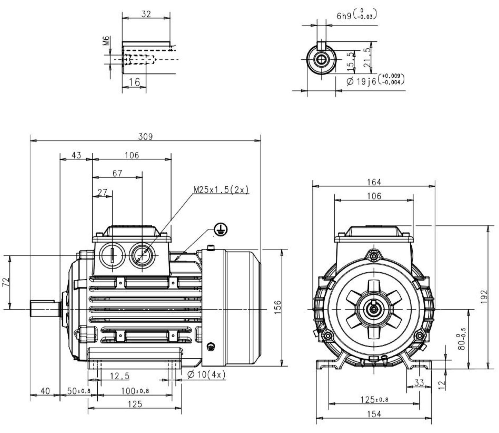 moteur triphas u00e9 0 55 kw  1500 tr  min  b3  230  400v