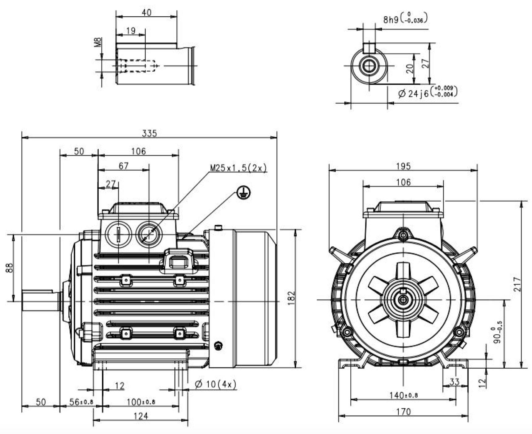 moteur triphas u00e9 1 1 kw  1500 tr  min  b3  400  690v