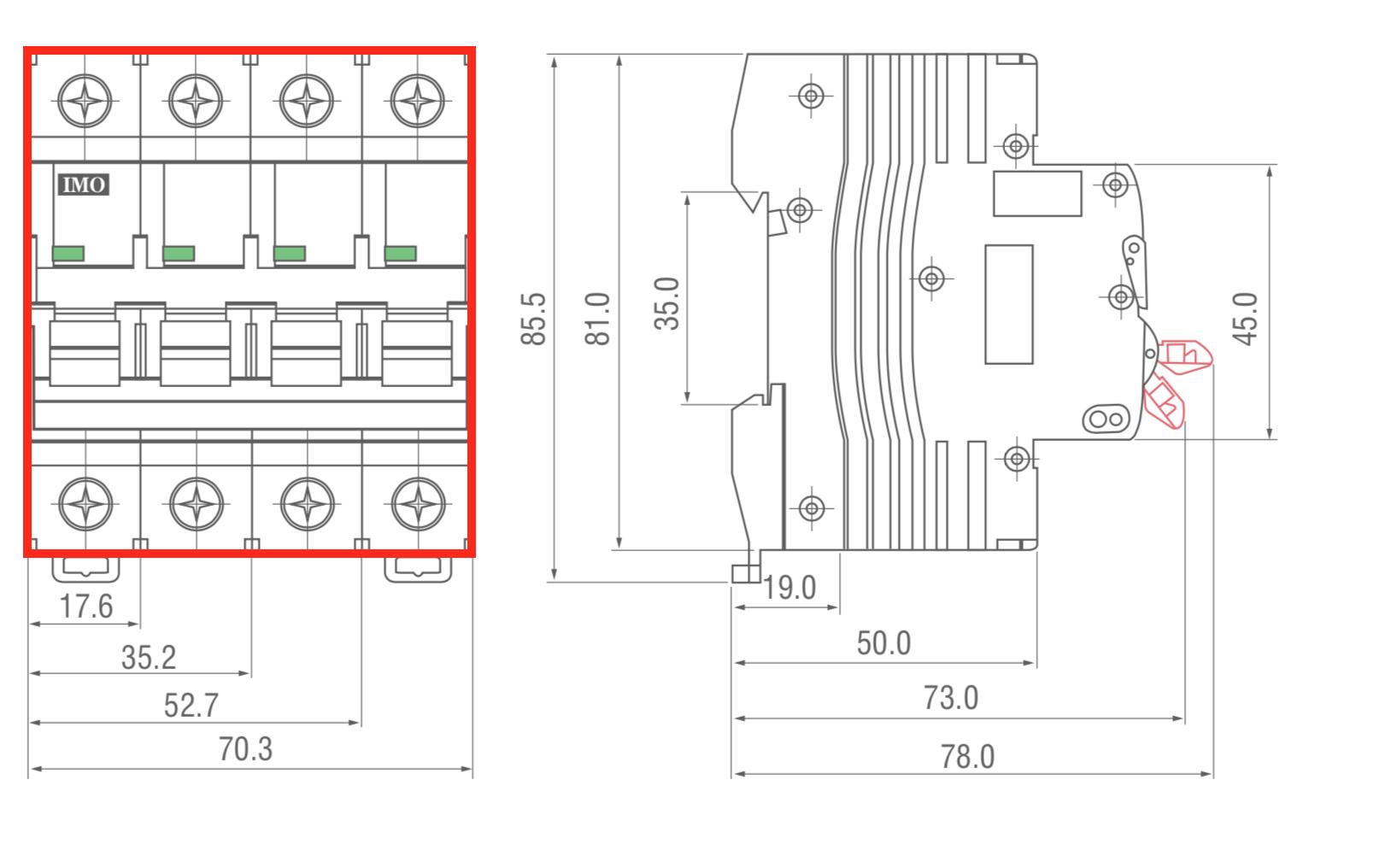 dimensions disjoncteur modulaire 3 pôles + neutre 10kA