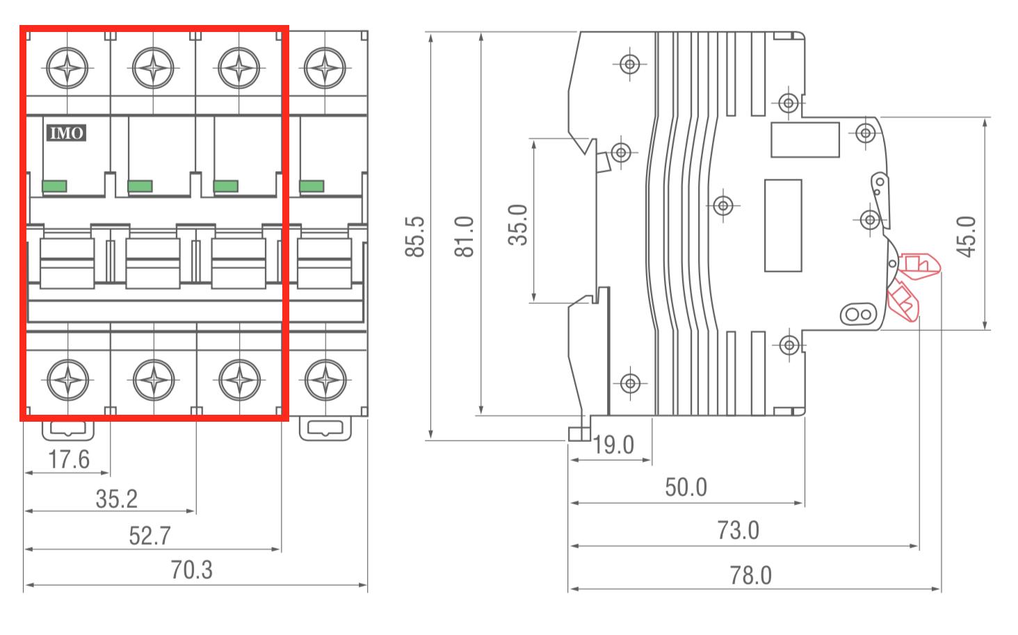 dimensions disjoncteur modulaire bipolaire 10kA