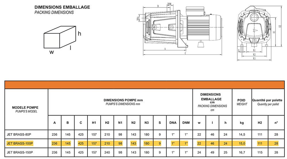 Dimensions pompe JET BRASS 100P