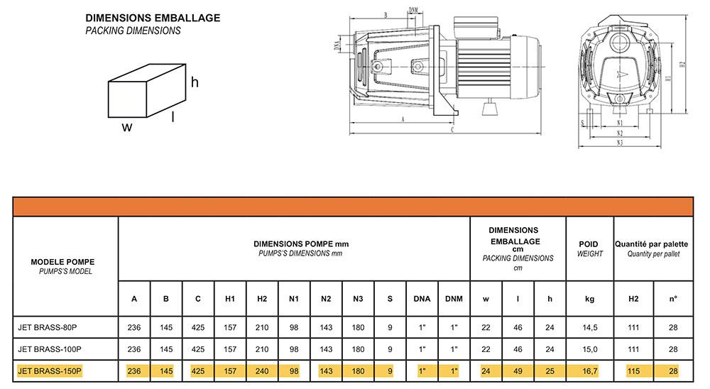 Dimensions pompe JET BRASS 150P